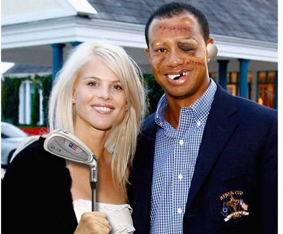 tiger woods photo christmas card picture pic of tiger woods beat up face